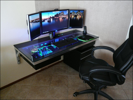 Nice shot of the desk with the lights on