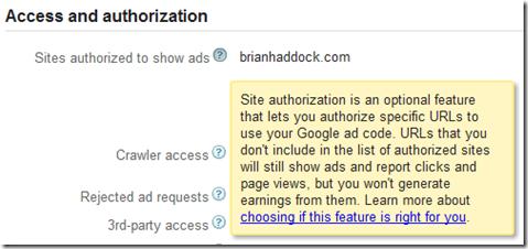 Adding authorized sites to Google AdSense settings