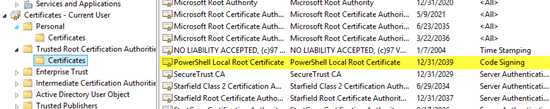 PowerShell Local Root Certificate in the Trusted Root Certification Authorities (for code signing)